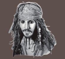 Captain Jack Sparrow (b/w) Kids Clothes
