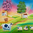 COW SHEEP naive folk art landscape painting Gordon Bruce by gordonbruce