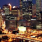 Skyline at Night - Pittsburgh, PA by searchlight