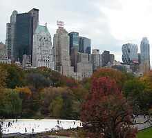 NY November Wollman Rink, Central Park, Fall Foliage by lenspiro