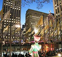 Rockefeller Center Skating Rink at Night, New York  by lenspiro