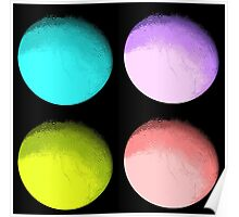 Four Colored Moons Poster