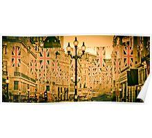 UK. London. Regent Street. Union Jack decorations for Royal Wedding. Poster