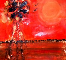 Fanning the Flames - the wind in the drought uses the windmill seemingly to fan the flames by Laurie  Rouse