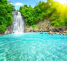 Waterfall in rain forest by MotHaiBaPhoto Dmitry & Olga