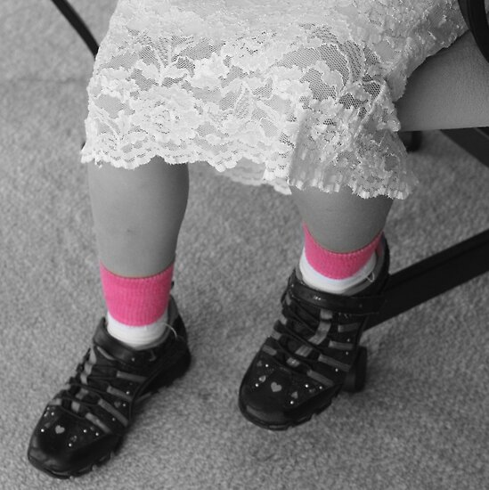 Sneakers and Lace and Pink In Her Socks by AuntDot