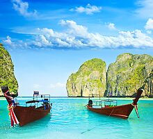 Longtail boats at Maya bay by MotHaiBaPhoto Dmitry & Olga