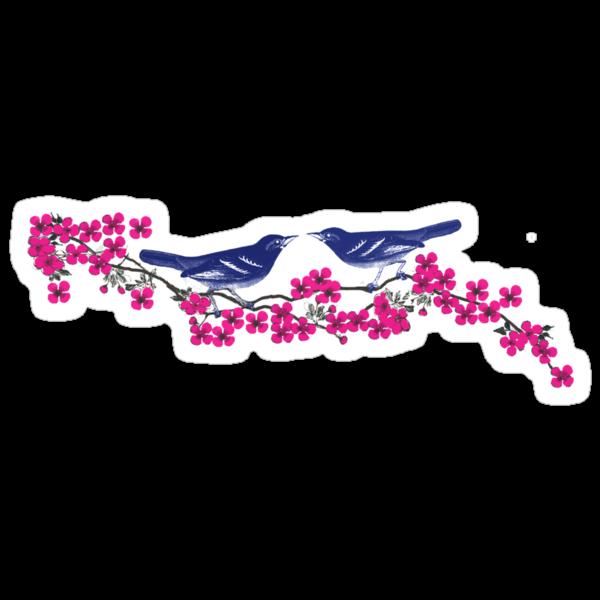 Navy Birds Cherry Blossom Fuchsia Flowers by SaMack