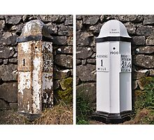 Old mile post - Kendal Photographic Print