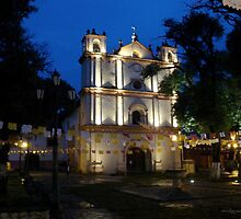 San Cristobal de las Casas- church at twilight by Shirley  Poll