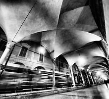 Urban CityScape, night arcades of Bologna Italy by Francesco Malpensi