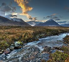 Rapids, Glen Etive, dusk by Gary Eason + Flight Artworks