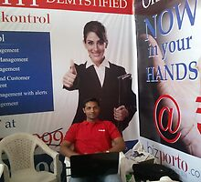 One of the rare relax moments at Global Maharashtra Conference and Trade Fair for bizporto team member by bizporto