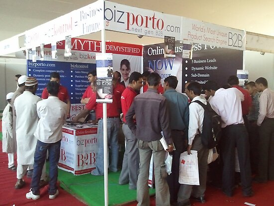 The all time busy bizporto booth at Global Maharashtra Conference and Trade Fair by bizporto