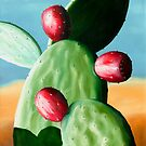 Tunas Rojo - oil painting of cactus in Mexico by James  Knowles
