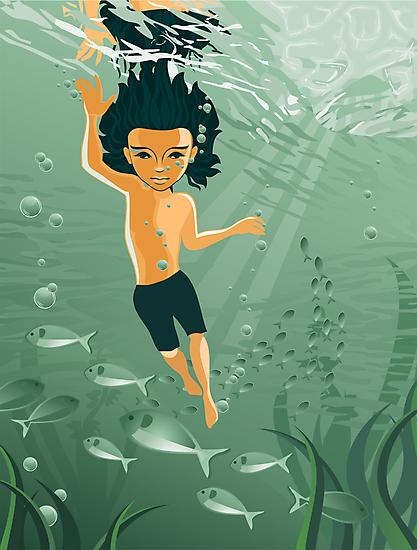 boy exploring underwater by Anastasiia Kucherenko