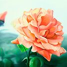 Rose Above - oil painting of a rose by James  Knowles