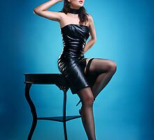 Leather Pin-up Girl  by Laura Balc Photographer