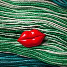 Red Lips On Yarn by Garry Gay