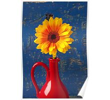 Yellow Mum In Red Pitcher Poster