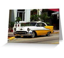 Miami Beach Classic Car with Watercolor Effect Greeting Card