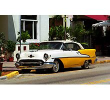 Miami Beach Classic Car with Watercolor Effect Photographic Print