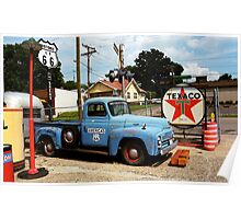 Route 66 - Gas Station with Watercolor Effect Poster