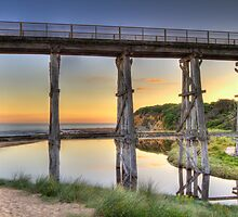 Kilcunda Rail Bridge Sunset • Victoria by Frank Moroni