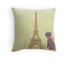 Soxy In Paris Throw Pillow