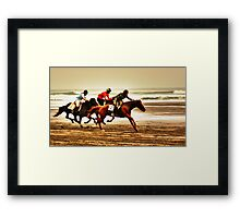 """The Race Is On..18th Running Of The Karekare Beach Races"" Framed Print"