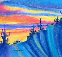 SUNRISE AT CACTUS RIDGE (CHALK PASTEL) by Kevin McGeeney