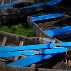Blue boats in green water by Javimage