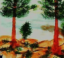 Looking from Balcony onto Lake Tahoe #2, Series, watercolor by Anna  Lewis