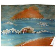 Stormy waves at sunset, watercolor Poster