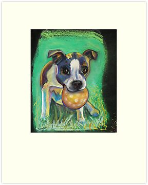 Boston Terrier with Ball by Ann Marie Hoff