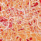 London Map Art Red by ArtPrints