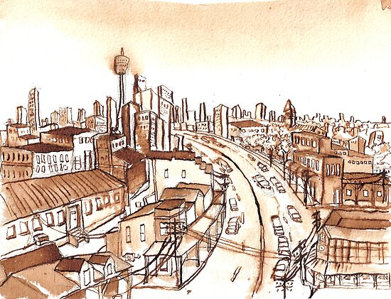 City Scape Sydney Sepia Ink by Tristan Klein