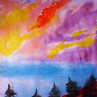 Colorful clouds over the pines, watercolor by Anna  Lewis