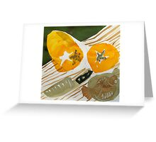 still life with knife and fruit Greeting Card