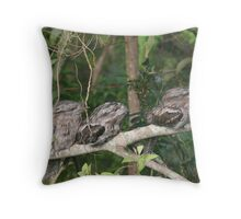 Frogmouth Family Throw Pillow