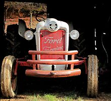 Red Ford Farming Tractor 'Tween Jobs by Jean Gregory  Evans