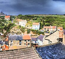 Staithes Rooftops ~ Panorama, HDR by Sandra Cockayne