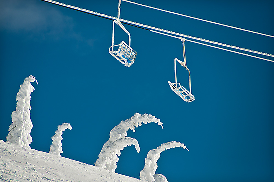Snow sculptures and frozen chairs by Kalpesh Patel