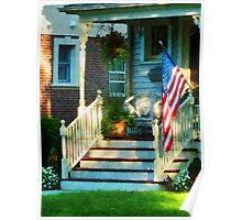 Porch With American Flag Poster