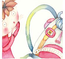 """backpack scary, illustration of the story """"backpack""""  Photographic Print"""
