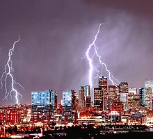 Denver Skyline Lightning Storm by designkase
