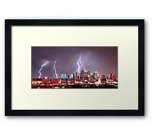 Denver Skyline Lightning Storm Framed Print