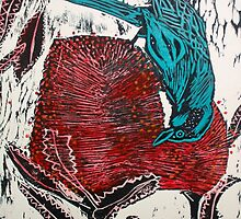 "Blue Bird Woodcut by Belinda ""BillyLee"" NYE (Printmaker)"
