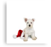 Westie Pup and Santa Hat Metal Print