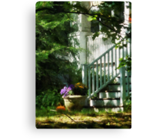 Porch with Urn and Pumpkin Canvas Print